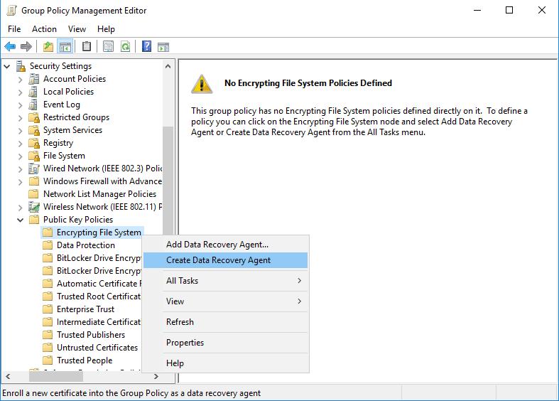 windows 系统配置EFS恢复代理