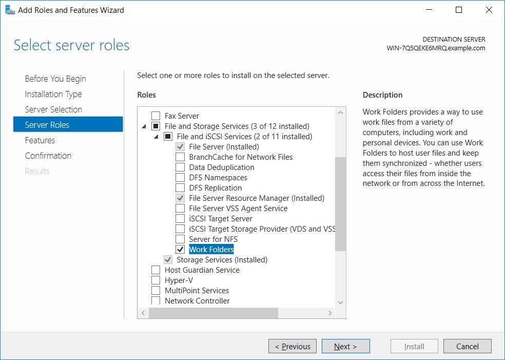 如何使用Windows Server 2016文件服务器和Windows 10客户端实现工作文件夹