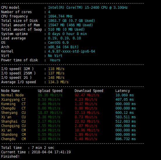 Kimsufi KS4C 服务器简单测试