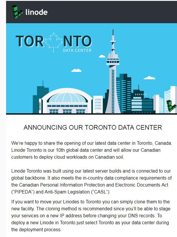 Linode 新增数据中心 Toronto(加拿大多伦多)