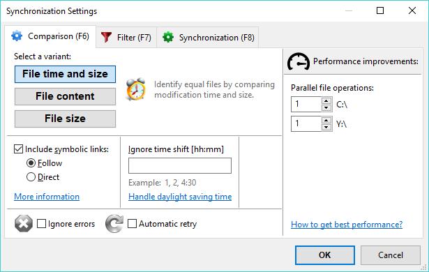 FreeFileSync 文件比较设置