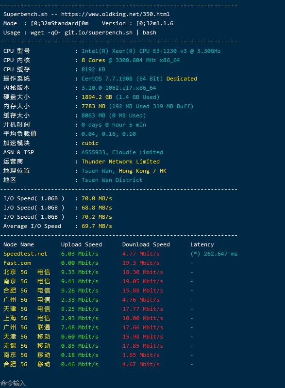 imidc 香港50刀服务器简单测评
