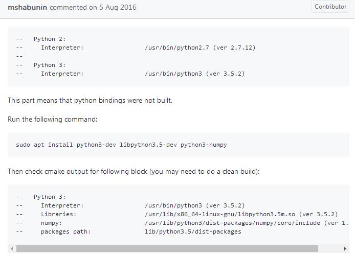 Linux下安装Python3.5及其OpenCV3.2接口
