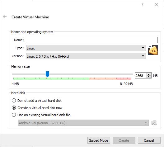 在 VirtualBox 中安装 Andriod 系统