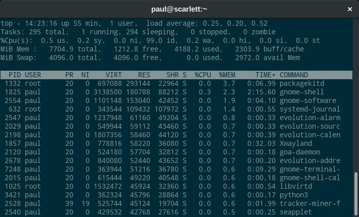 使用 top 命令了解 Fedora 的内存使用情况
