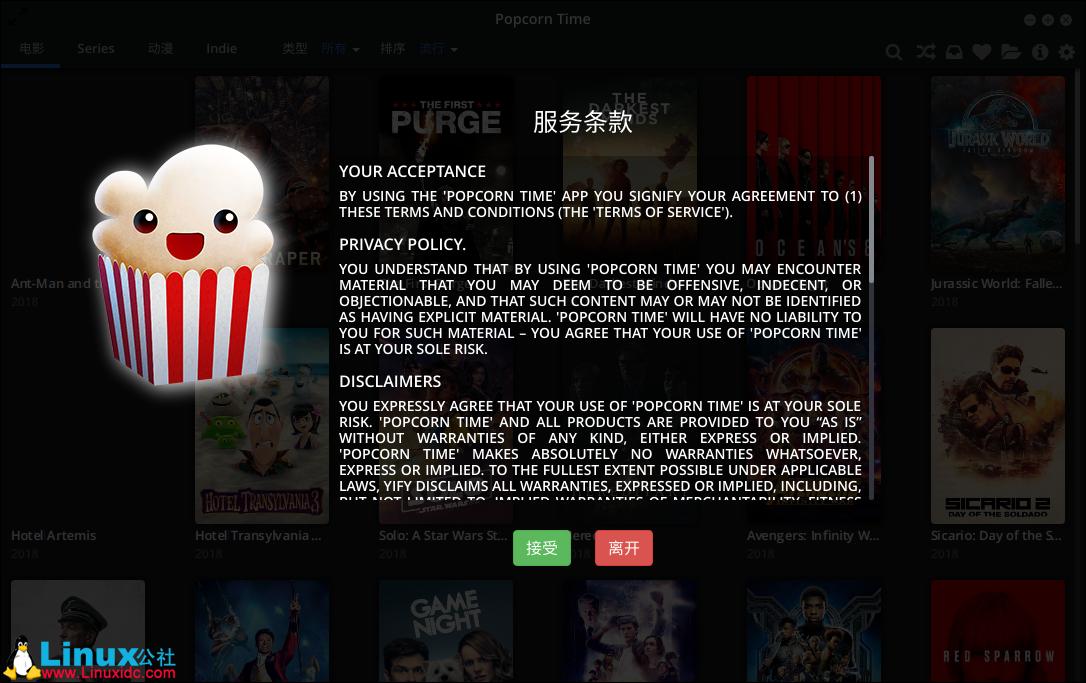 在Ubuntu 18.04 Linux上安装Popcorn Time电影播放器