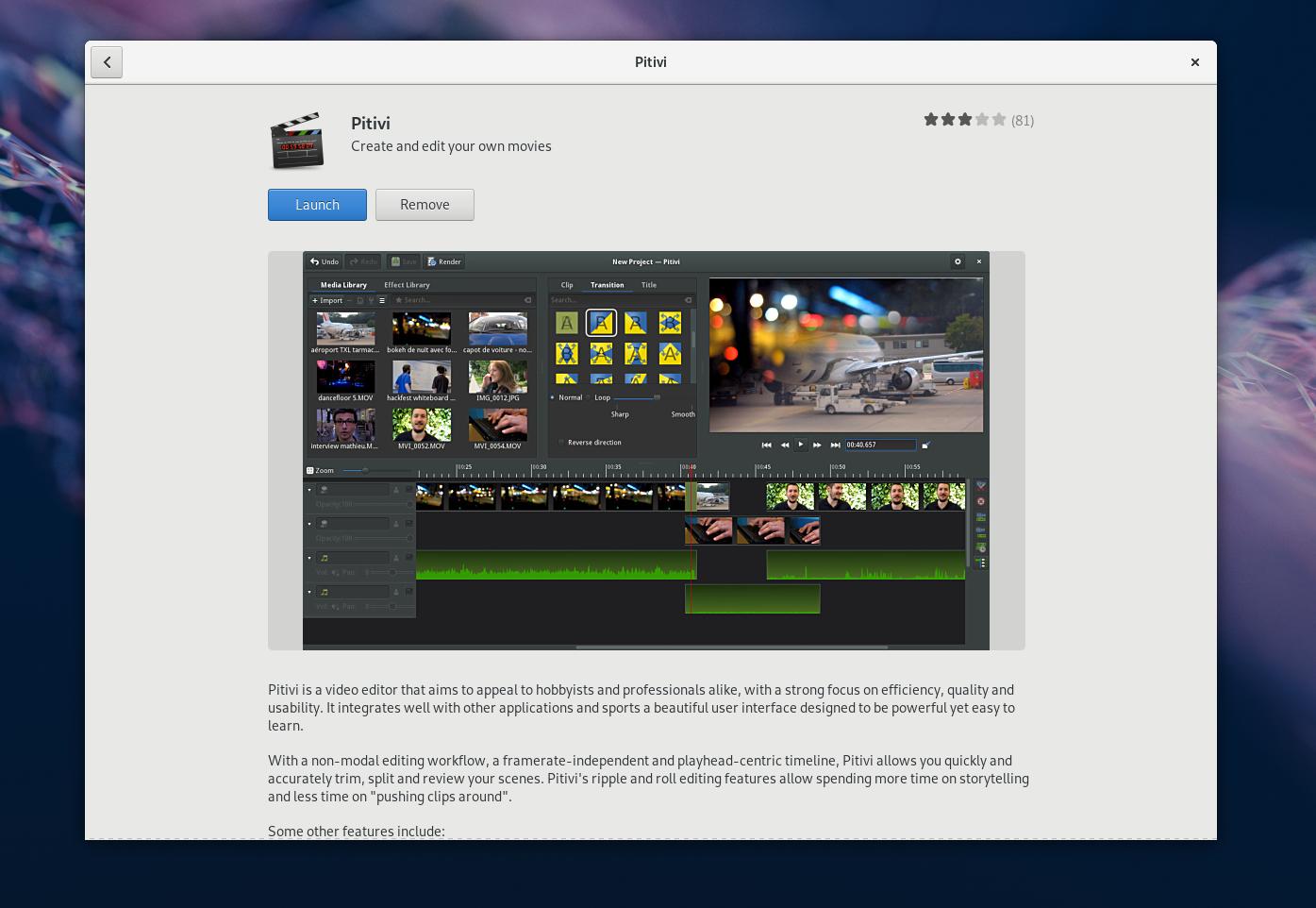 在 Fedora 上使用 Pitivi 编辑视频
