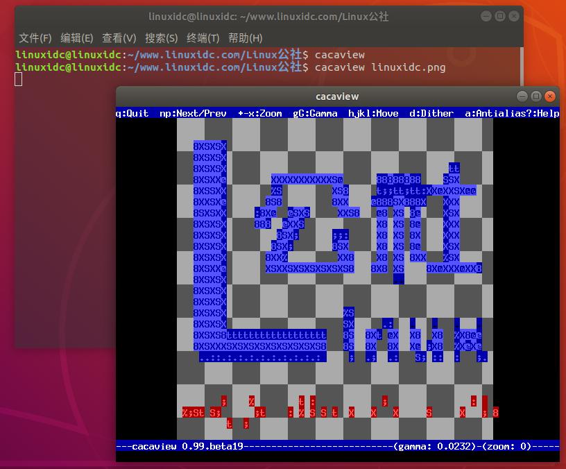 cacaview – Linux终端下将图片转换ASCII Art代码图案