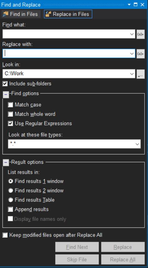 Visual Studio 中使用正则表达式来进行查找替换