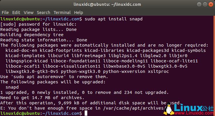 Ubuntu软件包管理空间不足,在/var/cache/apt/archives/中