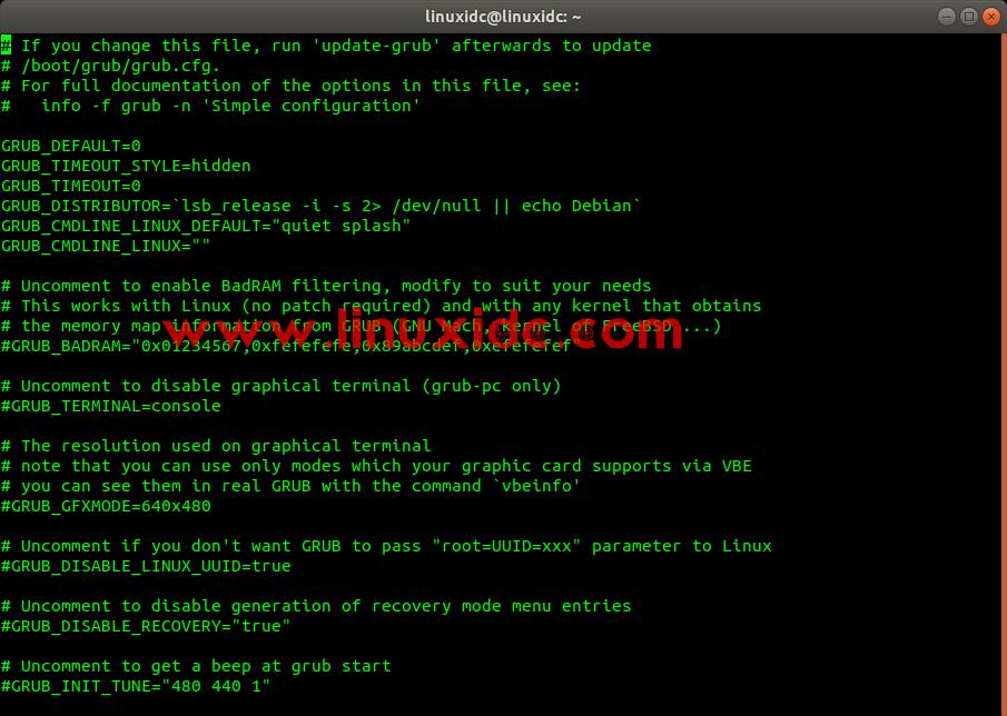 Ubuntu开机引导文件说明(/etc/default/grub)