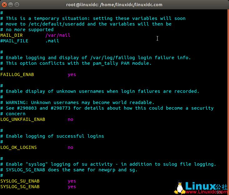 Linux新建用户配置文件 /etc/login.defs 详解
