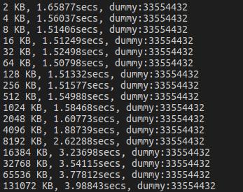 Ubuntu环境下测试Cache大小并校验