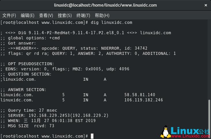 如何在Linux中安装和使用dig和nslookup命令