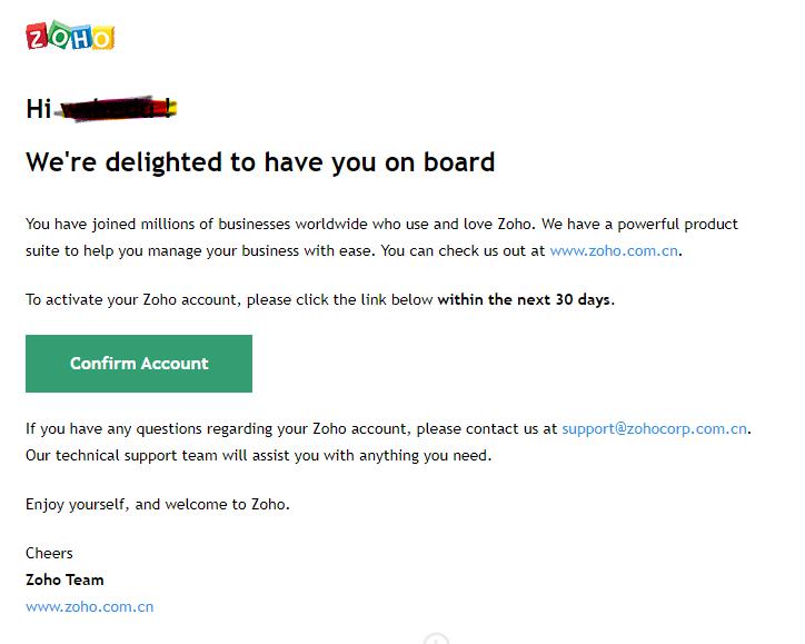 ZohO域名邮箱注册流程安排