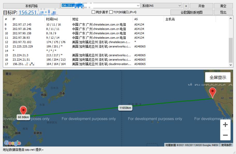 CloudPowerall CERA去程 CN2GIA50M回程 AMD3950X性能小鸡评测(转)